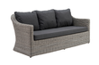 Borello lounge 3-zit zwart-grijs - wicker en Weather+ Softtouch