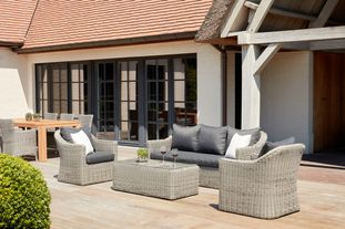 Borello loungeset grijs-grijs - wicker en weather+ softtouch - 5 personen