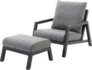 Zen'so loungeset zwart-grijs - aluminium en Weather+ Softtextilene - 1 tot 2 personen