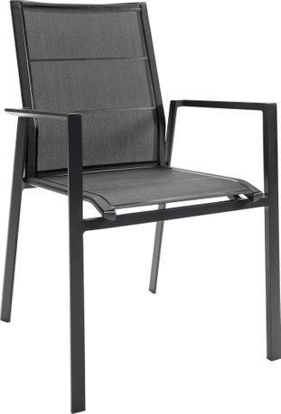 Chaise empilable Cirello empilable noir-noir - aluminium et textilène single