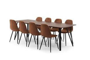 Ensemble de table Tommy noyer avec 8 chaises Carry