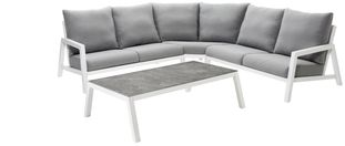 Zen'so loungeset wit-grijs - aluminium en All Weather Sunbrella® Premium - 5 personen