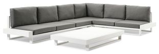 Nano loungeset wit-grijs - aluminium en All Weather Sunbrella® Premium - 6 personen