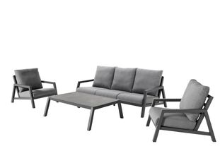 Zen'so loungeset zwart-grijs - aluminium en Weather+ Softtextilene - 5 personen