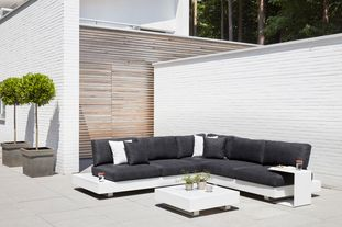 Tufo loungeset wit-zwart - aluminium en all weather sunbrella® luxe - 5 personen