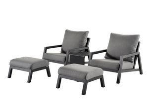 Zen'so loungeset zwart-grijs - aluminium en All Weather Sunbrella® Premium - 2 tot 4 personen