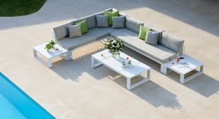 Fermo loungeset wit met Sunbrella kussens Chartres Pewter