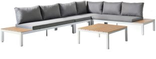Toma loungeset wit - aluminium, polywood en polyester - 6 personen