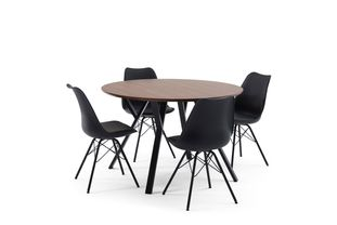Ensemble de table Tommy noyer avec 4 chaises Matty
