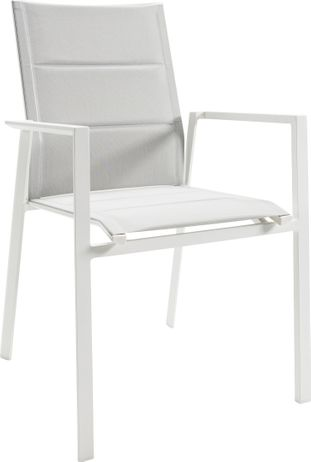 Chaise empilable Cirello empilable blanc-gris - aluminium et textilène confort