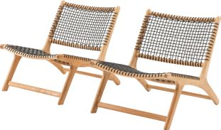 Cosito lounge balkonset naturel-zwart - teak en wicker - 2 personen