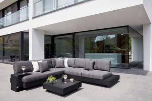 Tufo loungeset (incl. kussens in All Weather Sunbrella® Luxe) zwart-grijs - aluminium en all weather sunbrella® luxe - 5 personen