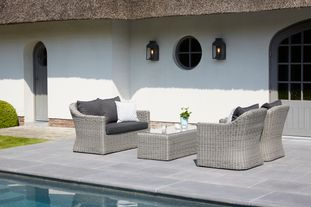Borello loungeset zwart-grijs - wicker en Weather+ Softtouch - 4 personen