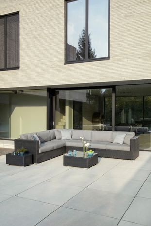 Canna Loungeset zwart- - wicker en all weather sunbrella® luxe - 5 personen