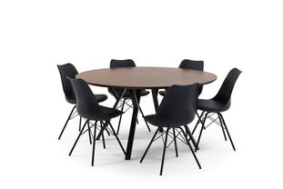 Ensemble de table Tommy noyer avec 6 chaises Matty