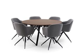 Ensemble de table Tommy noyer avec 6 chaises Billy