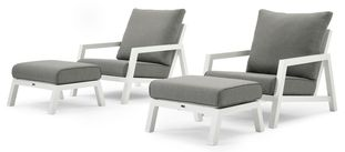 Zenso loungeset wit-grijs - aluminium en Weather+ Softtouch - 2 personen