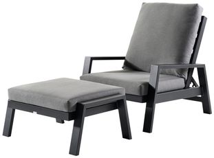 Veneto loungeset zwart-grijs - aluminium en Weather+ Softtouch - 1 persoon