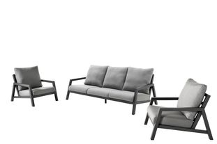 Zen'so loungeset zwart-grijs - aluminium en All Weather Sunbrella® Premium - 5 personen