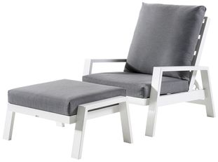Veneto loungeset wit-grijs - aluminium en Weather+ Softtouch - 1 persoon