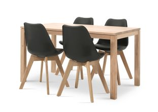 Ensemble de table London chêne naturel avec 4 chaises Korsa