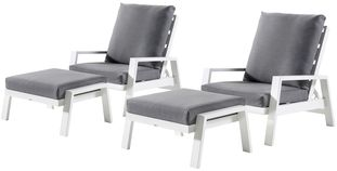 Veneto loungeset wit-grijs - aluminium en Weather+ Softtouch - 2 personen