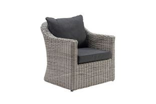 Borello lounge 1-zit zwart-grijs - wicker en Weather+ Softtouch