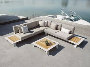 Cesano loungeset wit met Sunbrella kussens Chartres Pewter