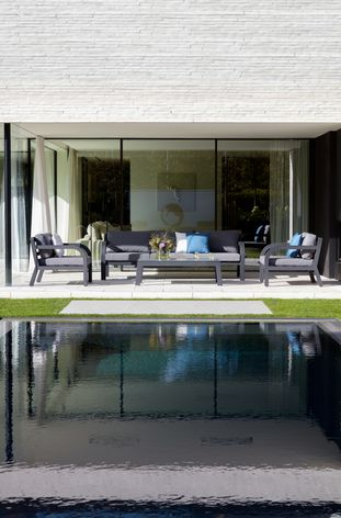 Ruvo loungeset zwart-grijs - aluminium, Ceramic Glaze Glass en Weather+ Softtextilene - 5 personen