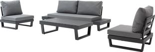 Modica loungeset zwart-grijs - aluminium en weather+ softtouch - 5 personen