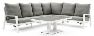Cirello loungeset wit-grijs - aluminium en all weather sunbrella® premium - 5 personen