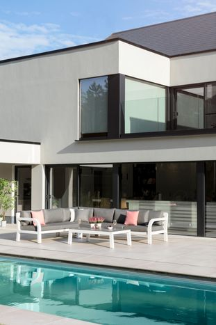 Ruvo loungeset wit-grijs - aluminium, Ceramic Glaze Glass en Weather+ Softtouch - 5 à 6 personen