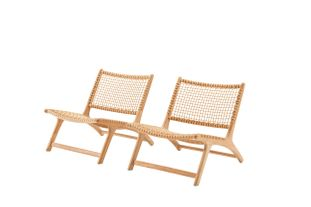 Cosito lounge balkonset naturel - teak en wicker - 2 personen