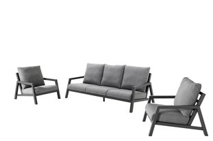 Salon de jardin Zen'so noir-gris - aluminium et Weather+ Softtextilène - 5 personnes