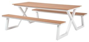 Table pique-nique Mundo blanc-naturel - aluminium avec plateau de table en polywood - L 200  x l 173 cm