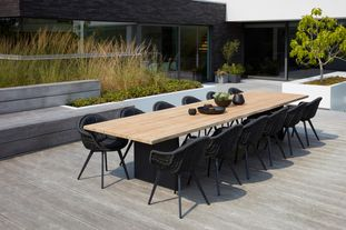 Portofino tuinset (incl. kussens in All Weather Sunbrella® Luxe) zwart-zwart - tafelblad in teak - met 12  tuinstoelen