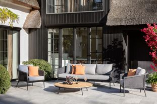 Toblino loungeset zwart-grijs - aluminium, wicker en Weather+ Softtouch - 5 personen