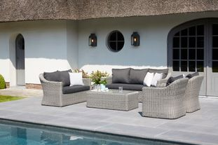 Borello loungeset zwart-grijs - wicker en Weather+ Softtouch - 7 personen