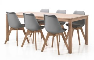 Ensemble de table London chêne naturel avec 6 chaises Korsa
