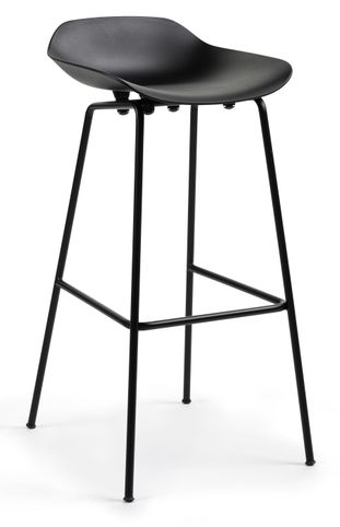 Tabouret de bar haut Vasco en PP Black H74