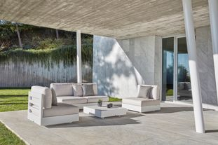 Como loungeset wit-beige - aluminium en All Weather Sunbrella® Luxe - 4 personen