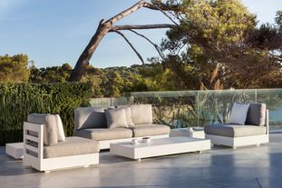 Como loungeset (incl. kussens in All Weather Sunbrella® Luxe) wit-grijs - aluminium en all weather sunbrella® luxe - 4 personen