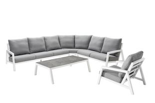 Zen'so loungeset wit-grijs - aluminium en All Weather Sunbrella® Premium - 6 tot 7 personen