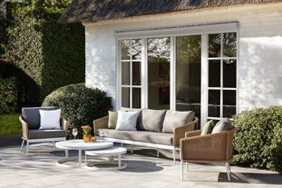 Toblino loungeset wit-beige-grijs - aluminium, wicker en Weather+ Softtouch - 5 personen