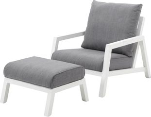 Zen'so loungeset wit-grijs - aluminium en Weather+ Softtextilene - 1 tot 2 personen