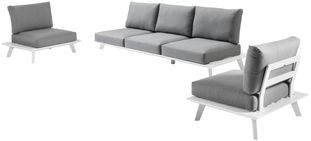 Puglia loungeset wit-grijs - aluminium en Weather+ Softtouch - 5 personen