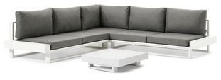 Nano loungeset (incl. kussens in Weather+ Softtouch) wit-grijs - aluminium - 5 personen