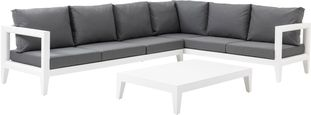 Rovigo loungeset wit-grijs - aluminium en Weather+ Softtouch - 5 personen