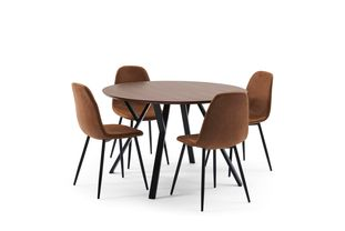 Ensemble de table Tommy noyer avec 4 chaises Carry