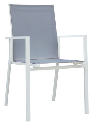 Chaise empilable Rimini empilable blanc-gris - aluminium et textilène single